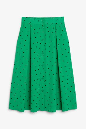 Pleated midi-skirt green_5