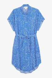 Belted shirt dress abstract dots_3