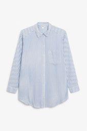 Oversized cotton shirt blue_4