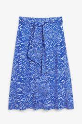Tie waist midi-skirt dot on blue_5