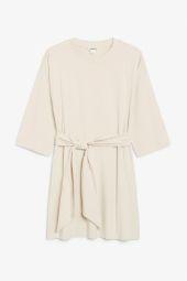 Tie waist dress beige_3