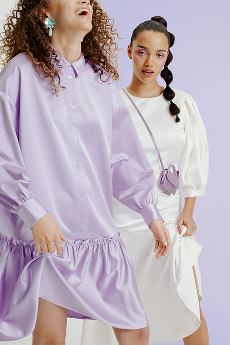 Satin shirt dress