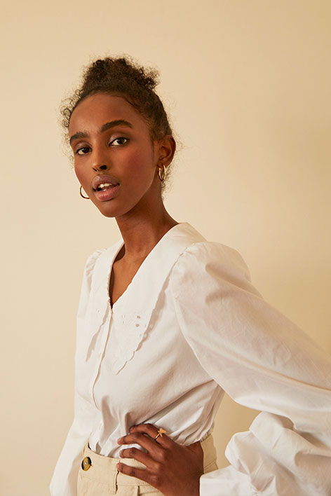 Broderie button-up blouse