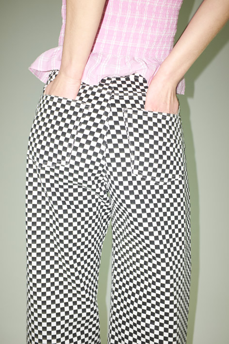 Checkerboard cotton trousers
